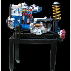 Двигатель ВАЗ 2108-09 в сборе со сцеплением и коробкой передач, передней подвеской и рулевый механизмом, на подставке (Агрегаты в разрезе)