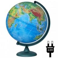 Глобус Земли физический 320 мм с подсветкой на подставке из пластика