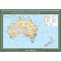 Карта Австралия и Новая Зеландия. Хозяйственная деятельность населения 70х100